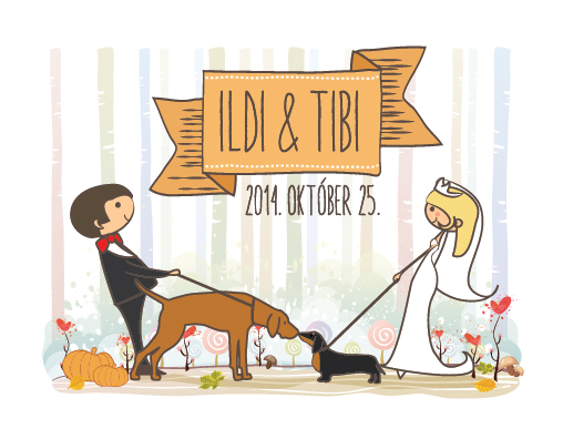 Ildi and Tibi wedding card graphic design
